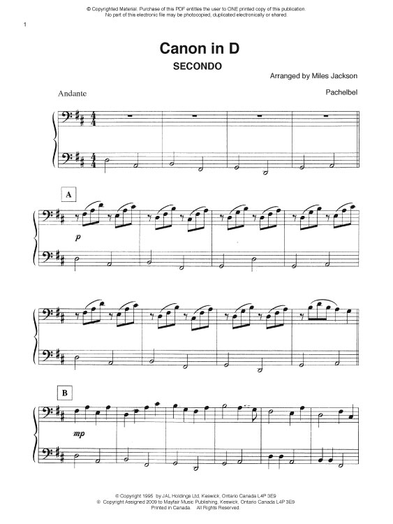 canon in d piano duet sheet music pdf